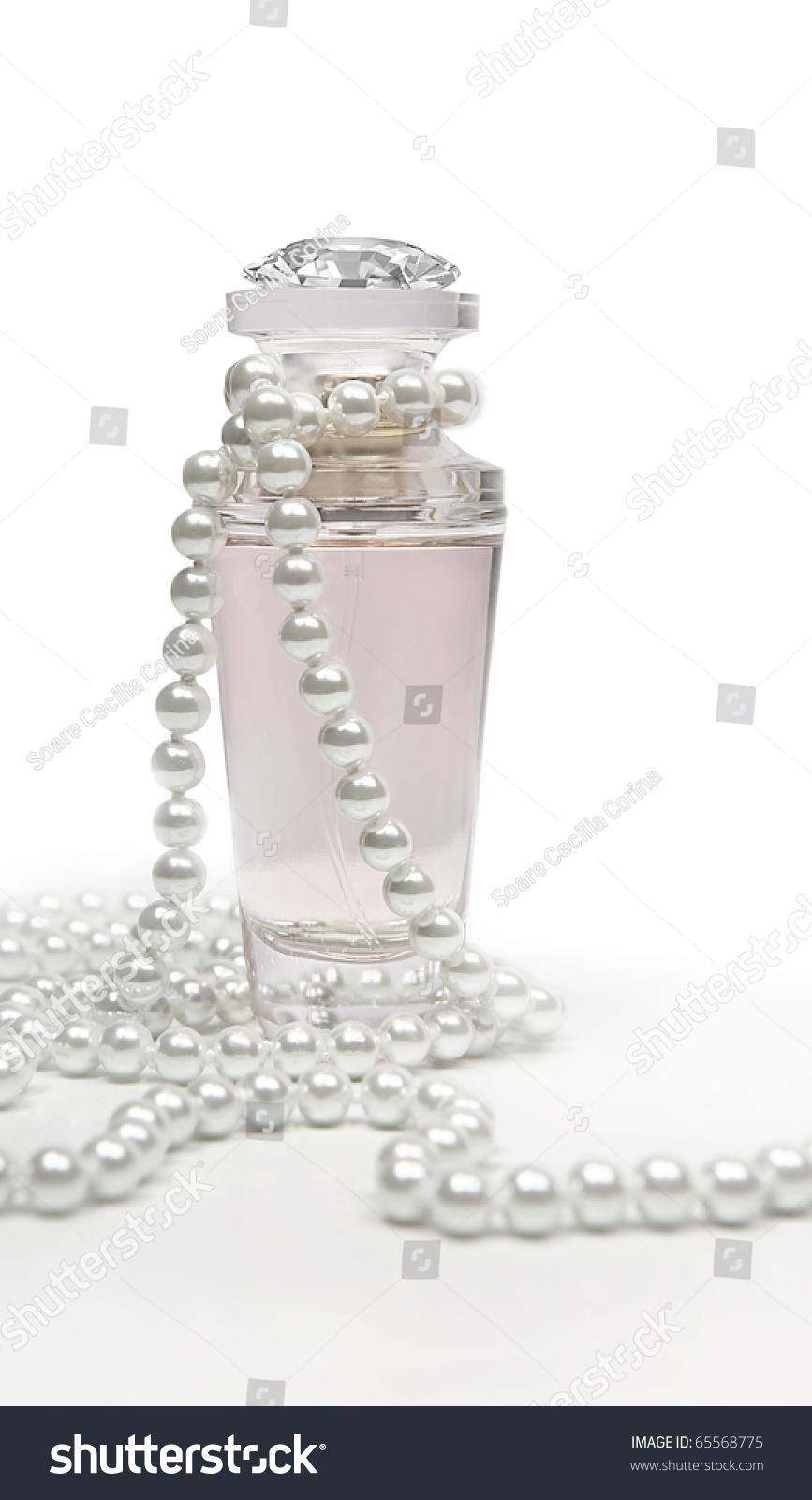 Vintage Perfume Bottle White Pearls Stock Photo 65568775 ...