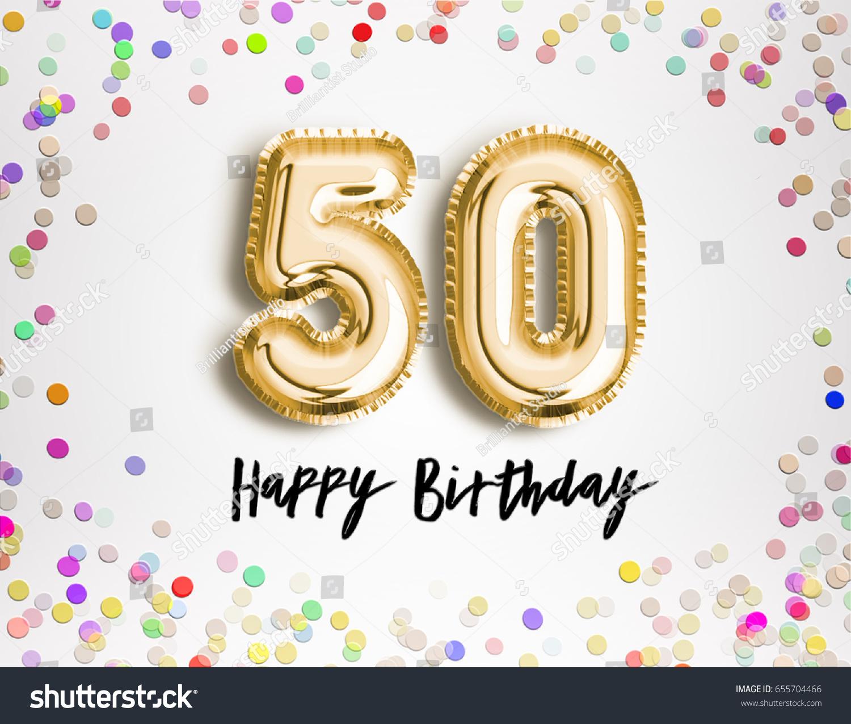50th Birthday Celebration Gold Balloons Colorful Stock Illustration