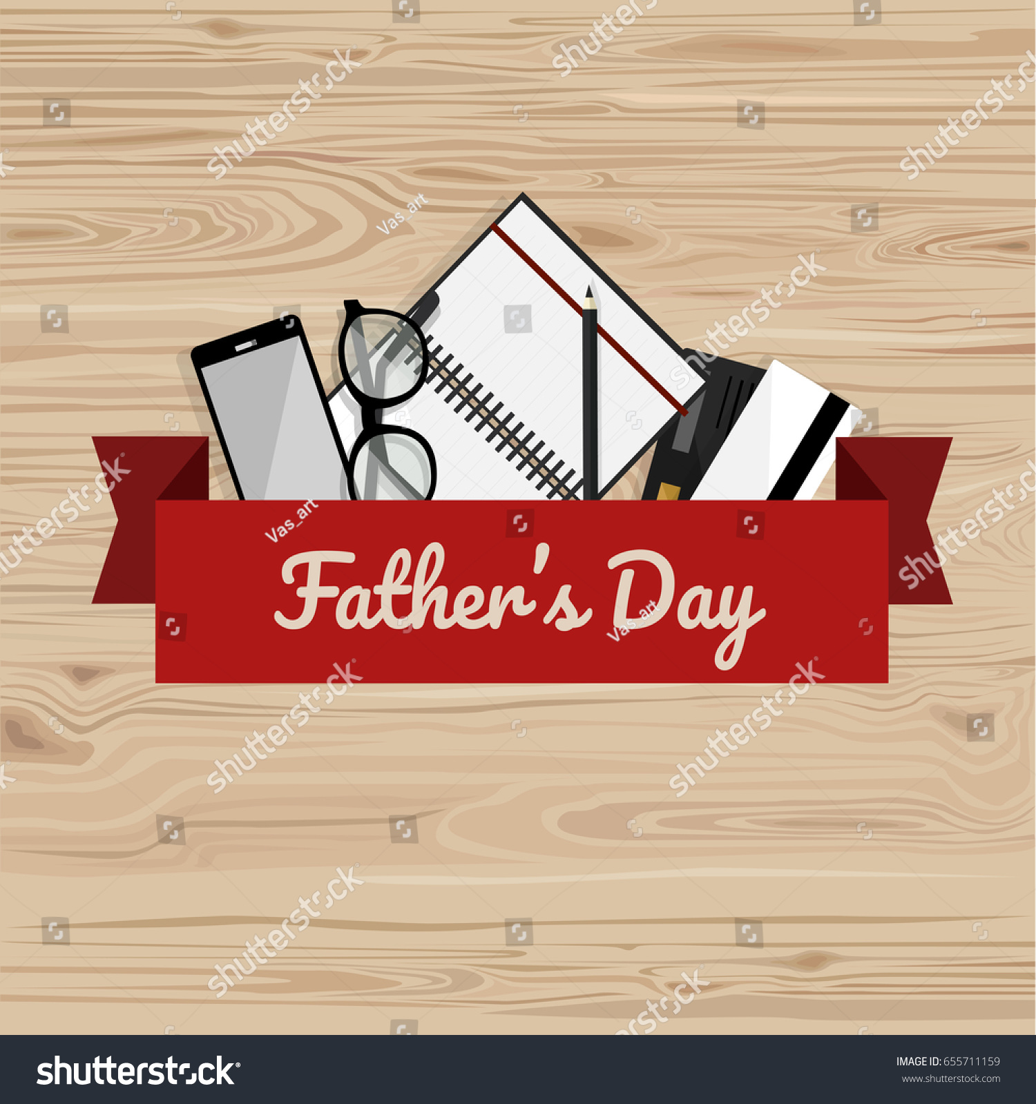 Fathers Day Greeting Card Flat Vector Stock Vector 655711159