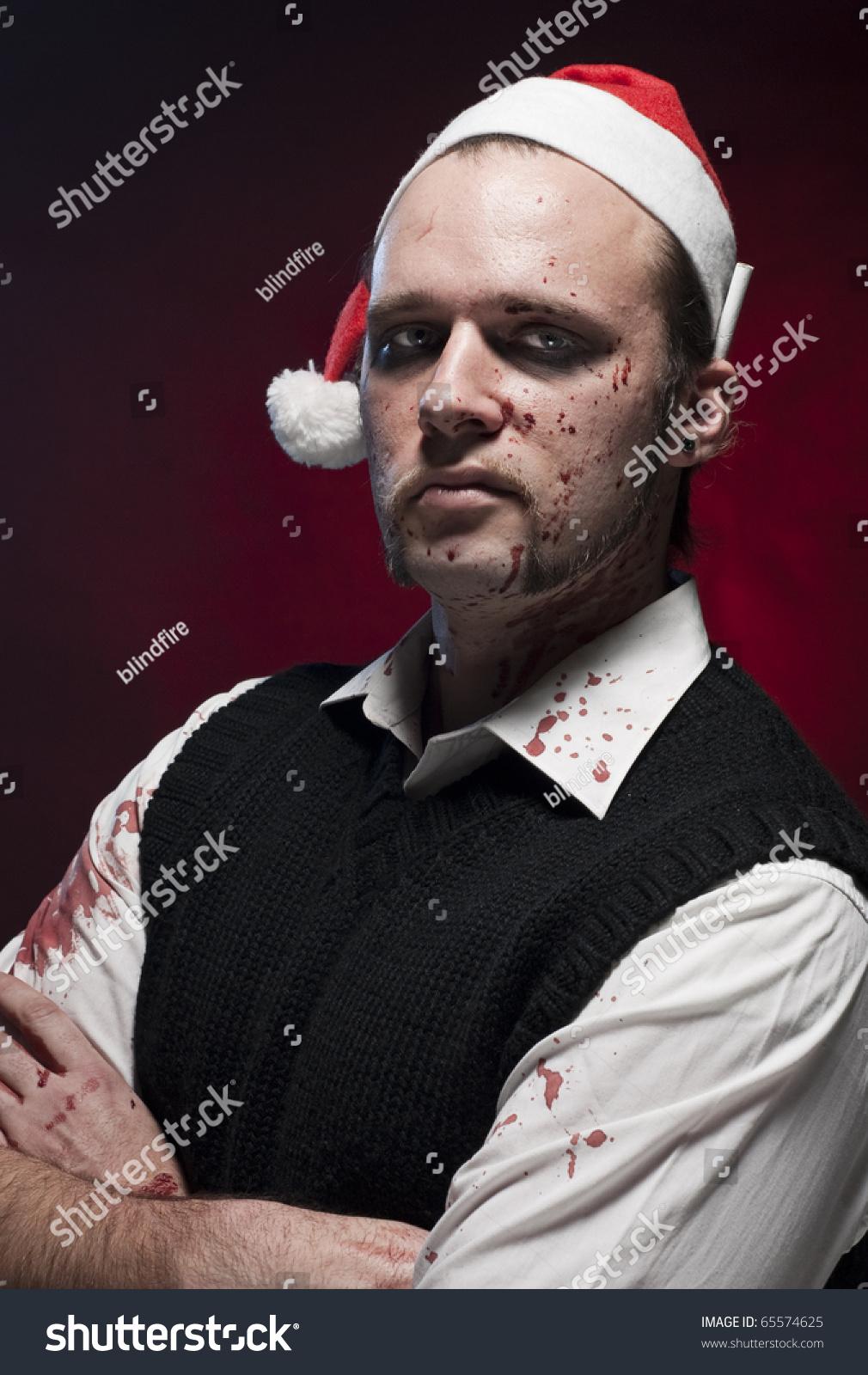 Horror Christmas Elf Makeup Blood Splash Stock Photo Edit Now