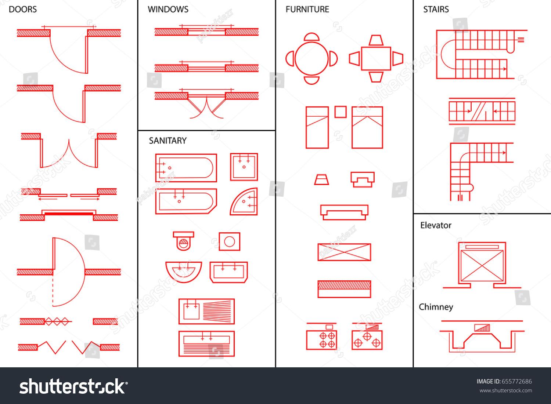Set Architectural Symbols Stock Vector Royalty Free 655772686