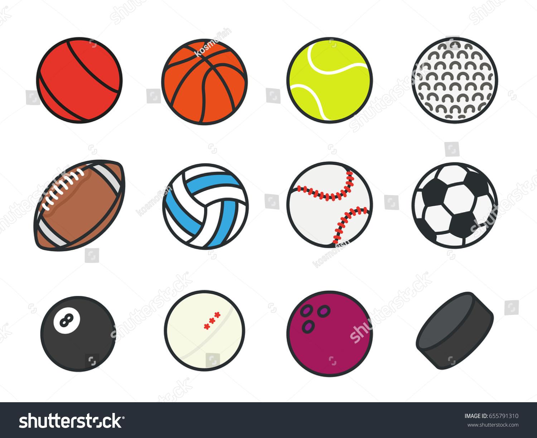 Color Sport Background Football Basketball Hockey Stock: Sports Balls Minimal Color Flat Line Stock Vector
