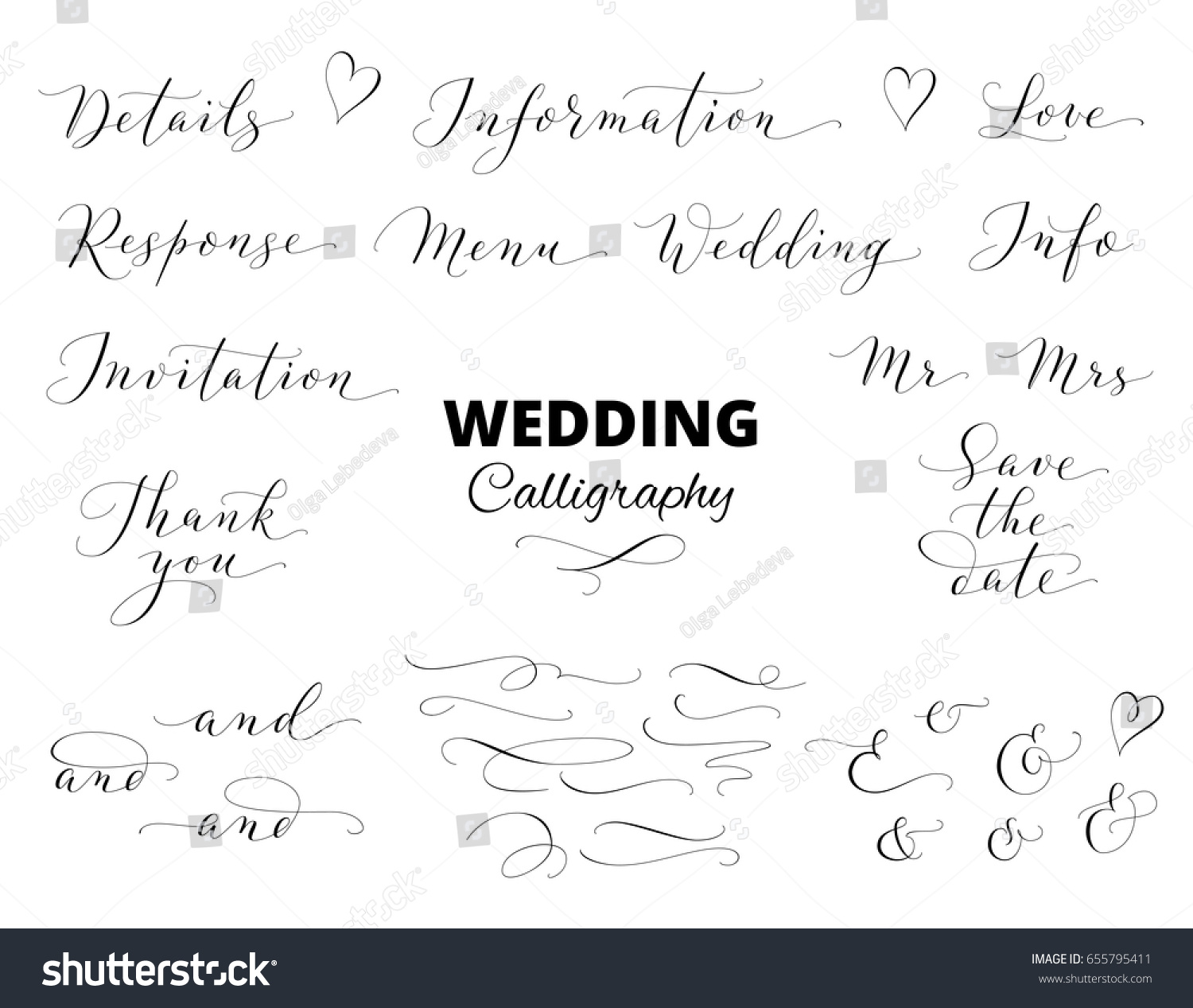 Wedding Calligraphy Isolated On White Save Stock Vector