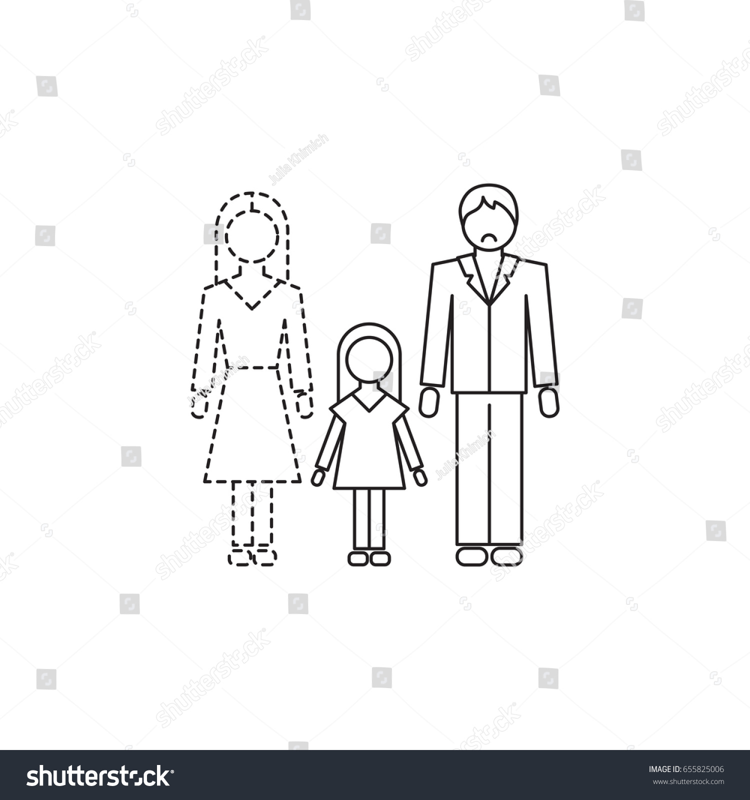 Vector thin line icon father daughter stock vector 655825006 vector thin line icon father and daughter without mother metaphor of single dad biocorpaavc
