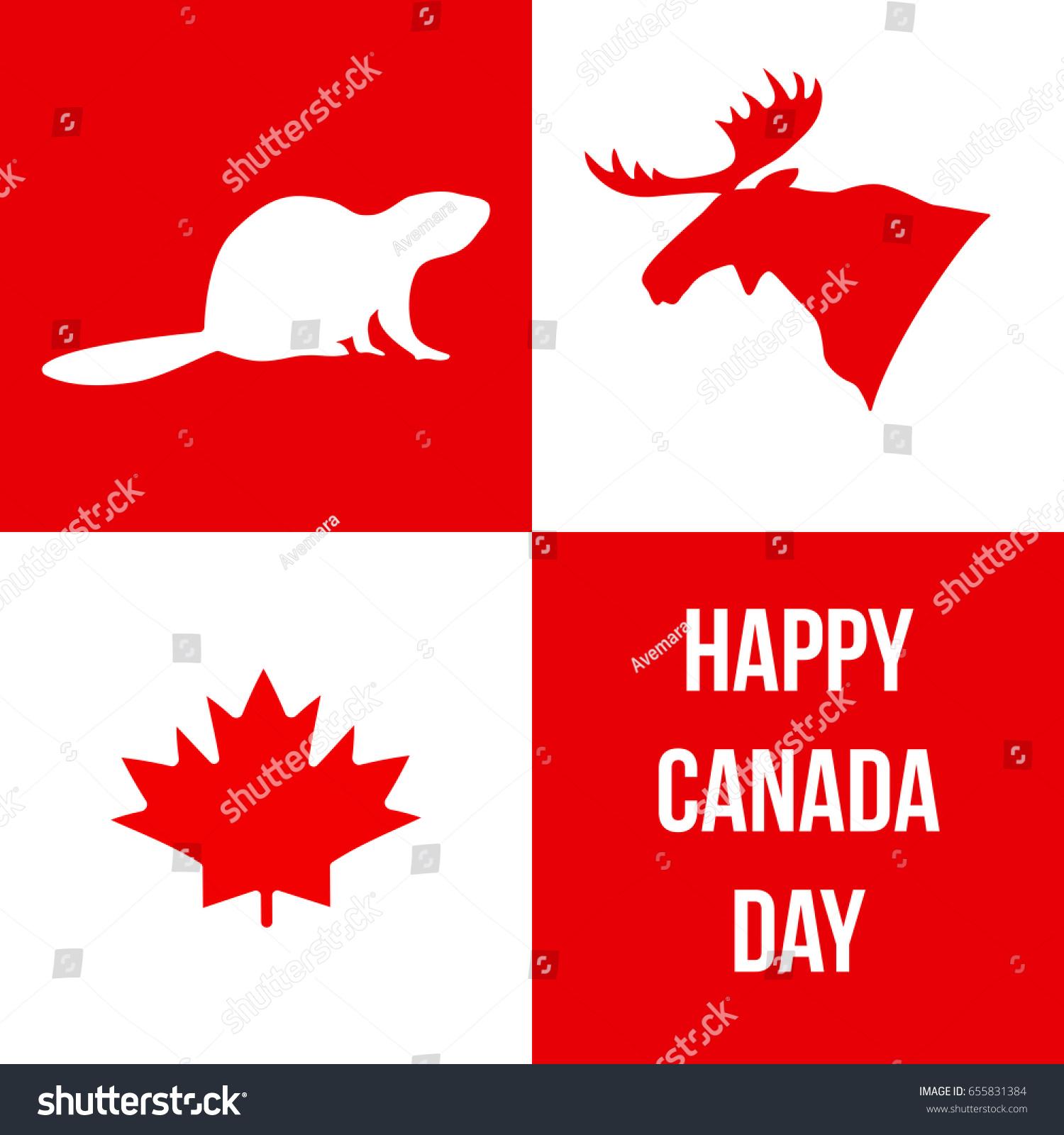 Happy Canada Day Silhouettes Canadian Symbols Stock Vector Royalty
