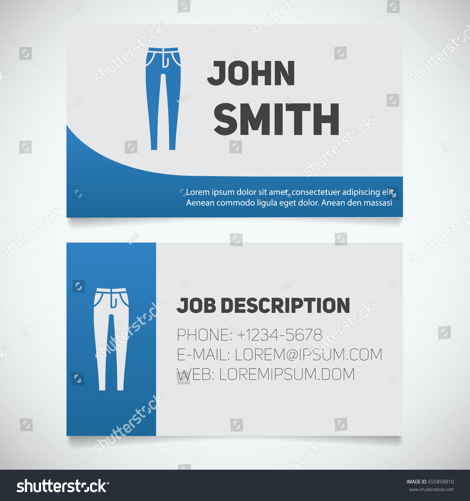 Business Card Print Template Skinny Jeans Stock Vector 655858810 ...