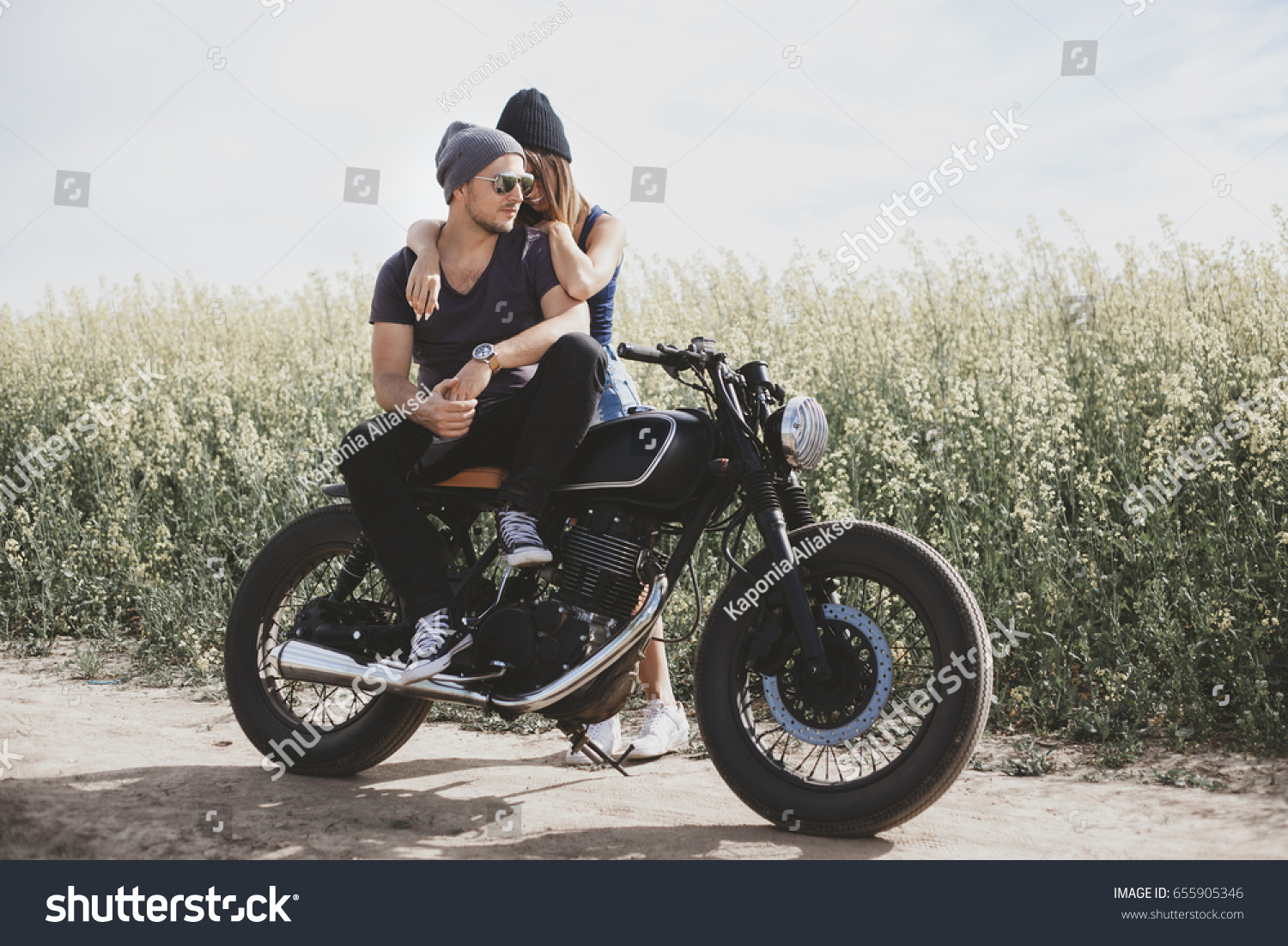 motorcycle love pics  Young Romantic Couple Field On Motorcycle Stock Photo (Edit Now ...
