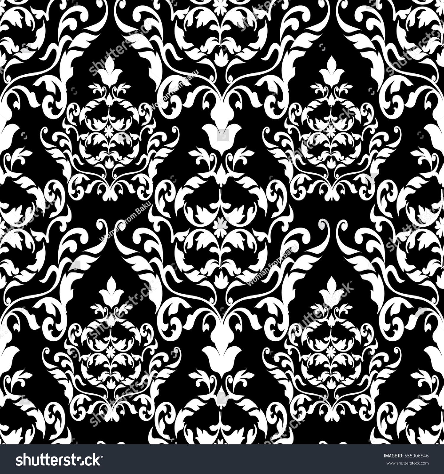 Damask Seamless Pattern Floral Black Background Stock Vector
