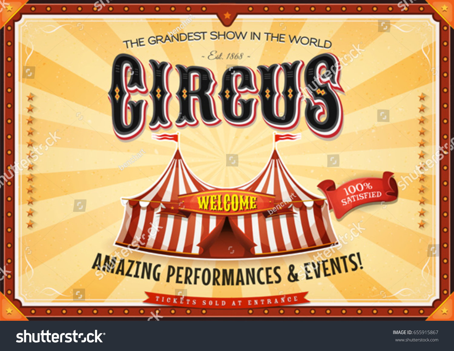 Vintage grand circus poster marquee illustration retro for Circus posters free