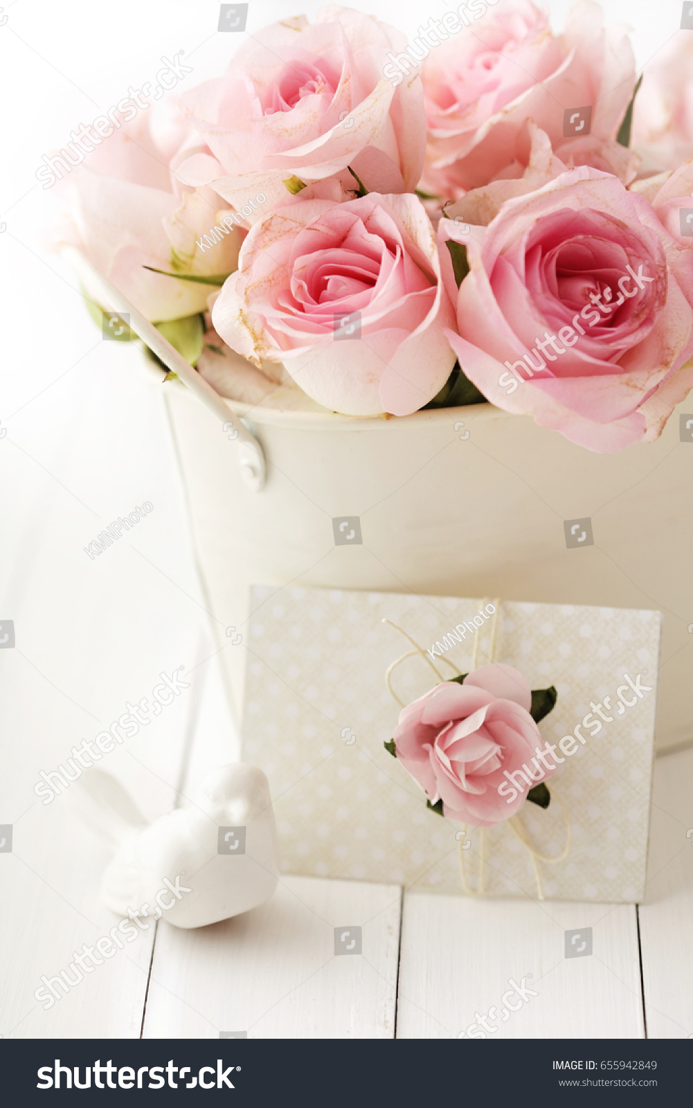 Pink Rose Flowers Vase Love Letter Stock Photo Edit Now 655942849