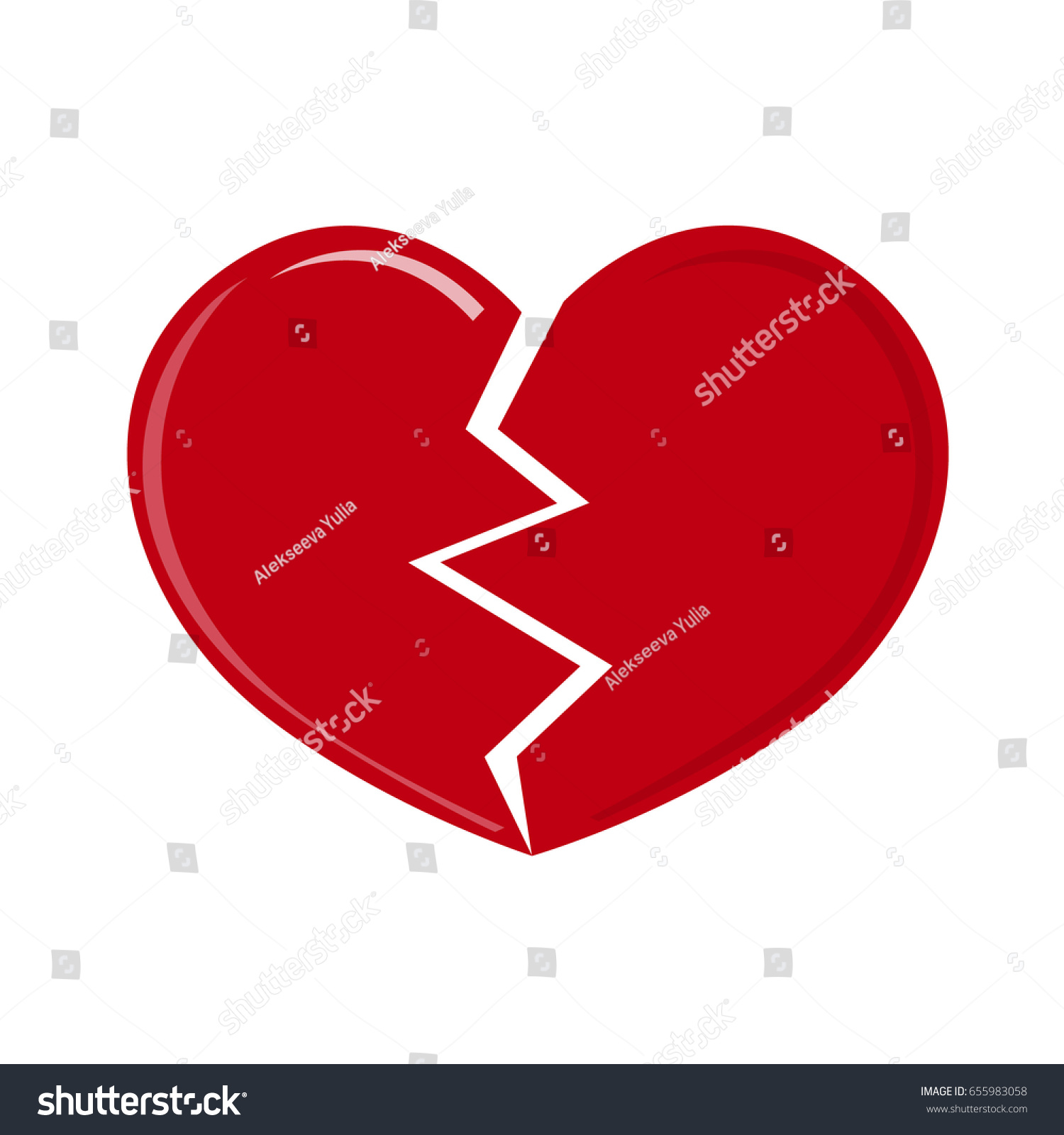 Red Heartbreak Broken Heart Isolated On A White Background Vector