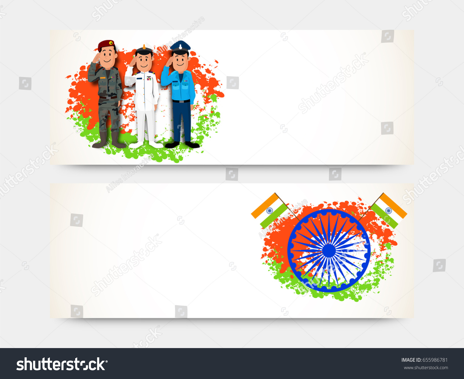 Colors website ashoka - Website Headers Or Banners Set With Saluting Army Officers And Ashoka Wheel On Splash For Indian