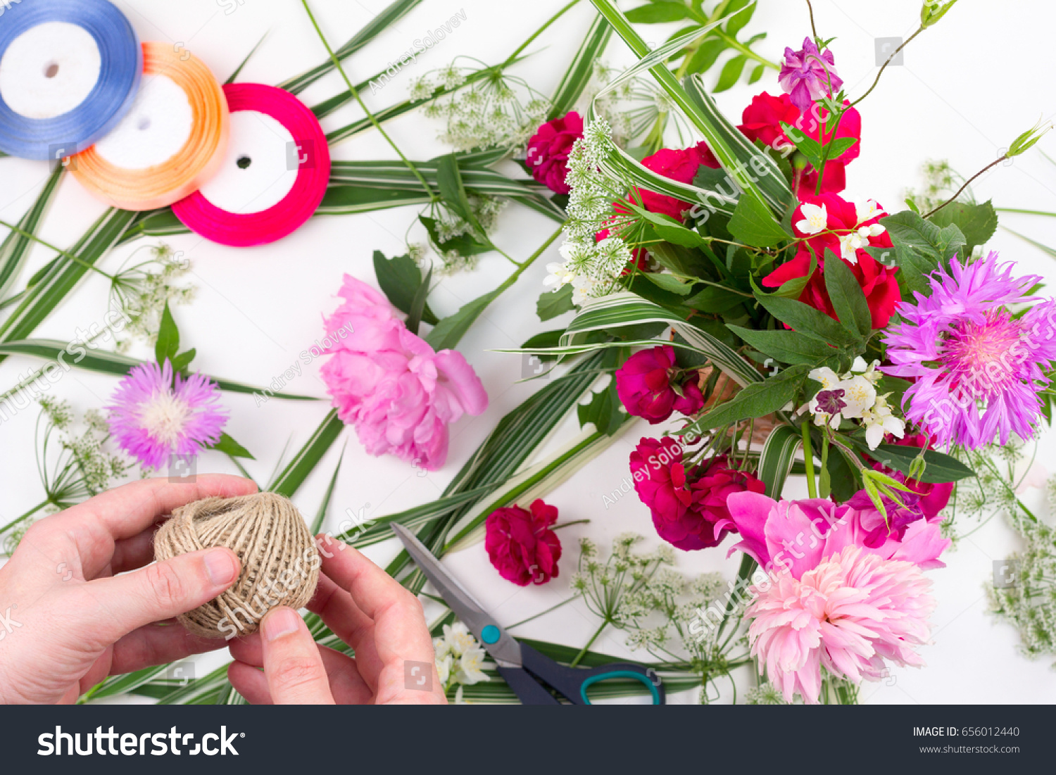 Floral Design Man His Hands Make Stock Photo Royalty Free