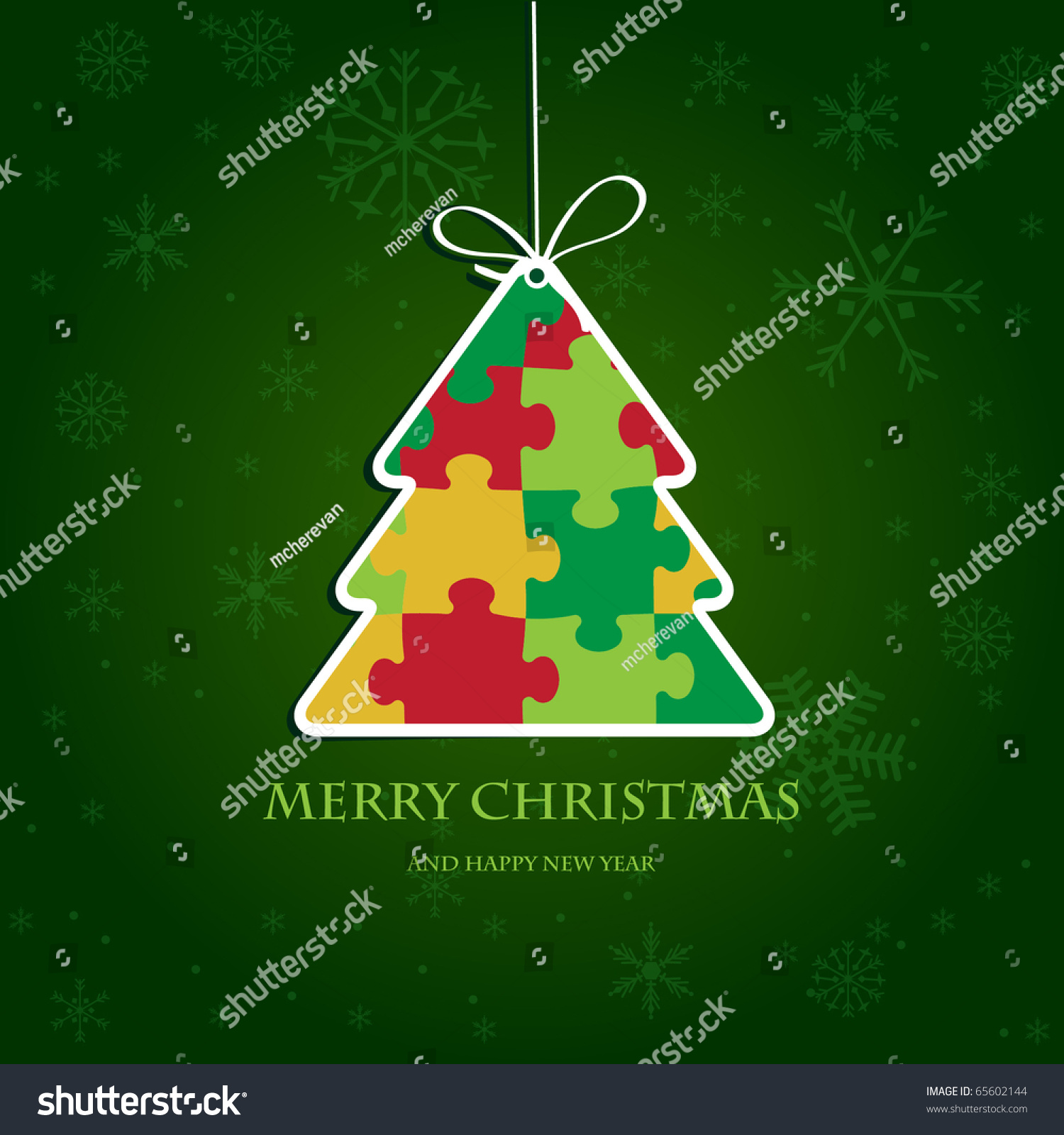 Christmas Tree From Jigsaw Puzzle. Christmas Card With Bright Colors. Paper Christmas  Tree.