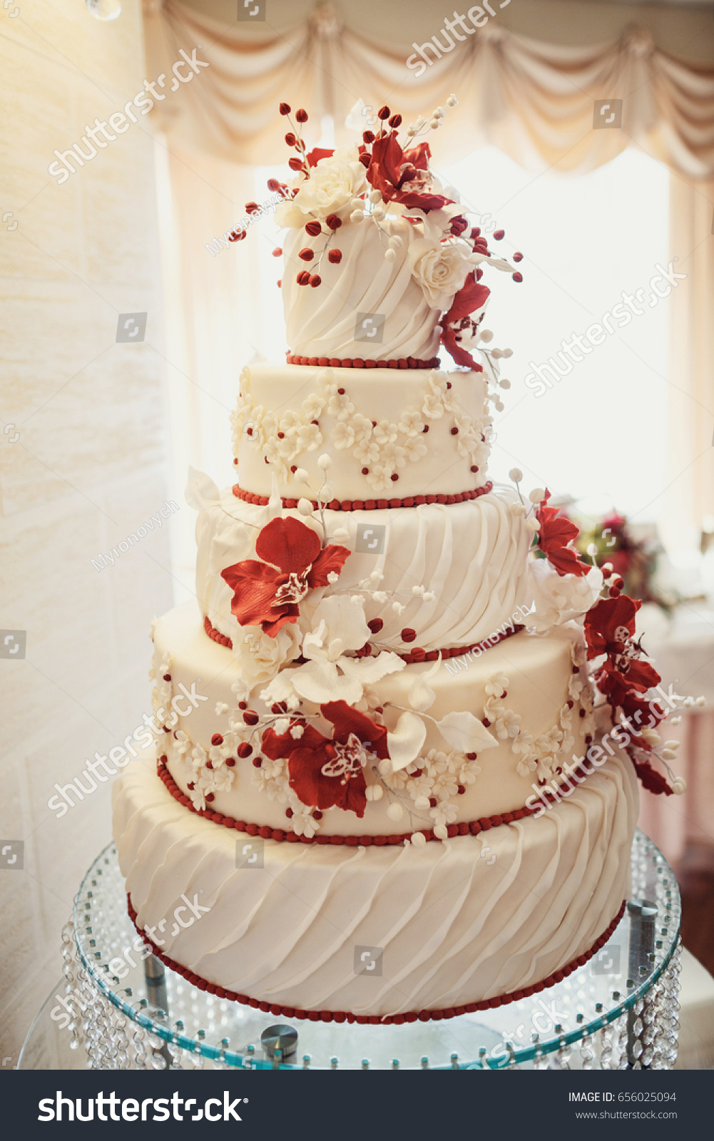Wedding Cake Covered White Icing Red Stock Photo Edit Now