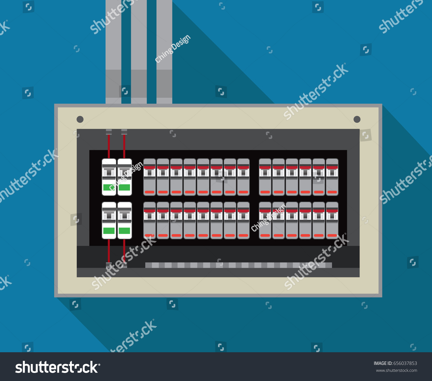 Electrical Panel Switch On Offbreakers Vector Stock Vector 656037853 ...