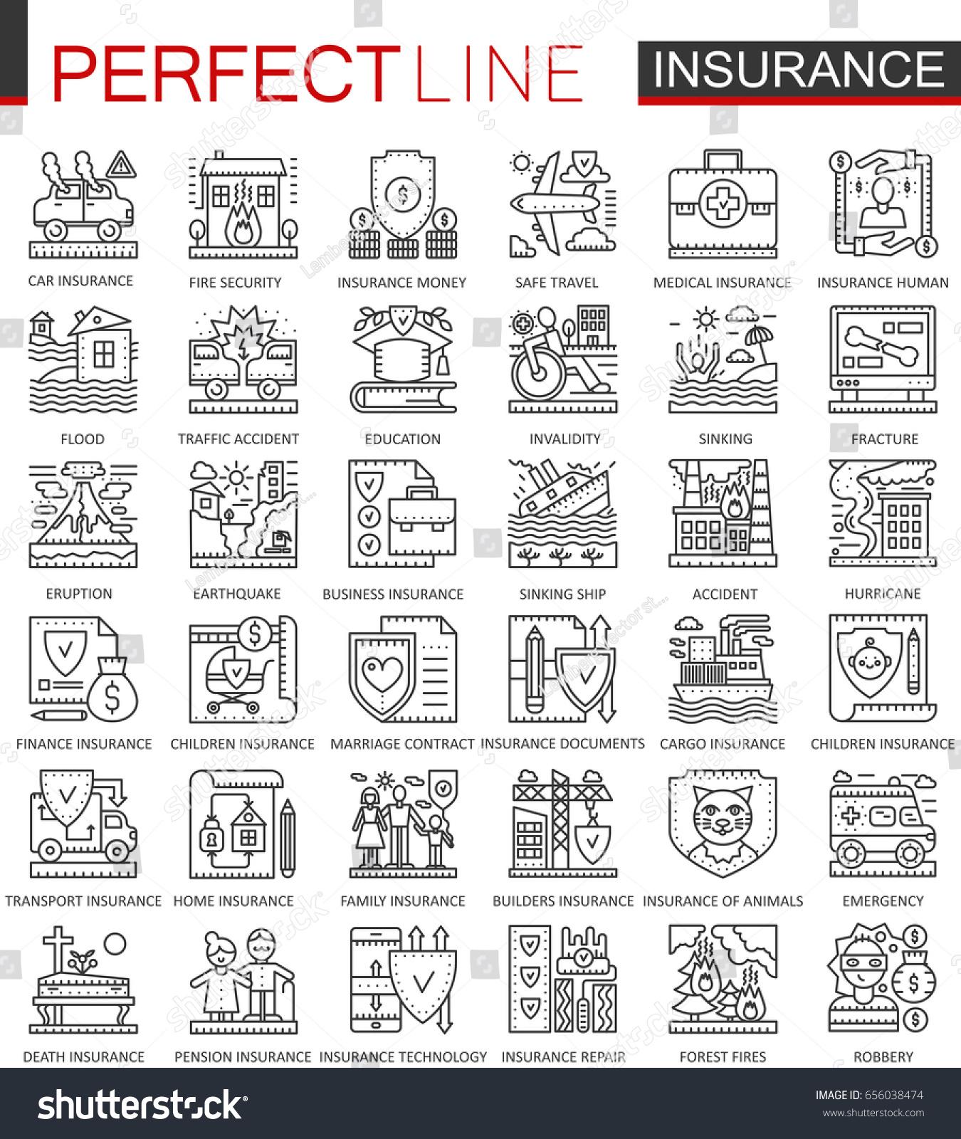 Insurance Outline Concept Symbols Health Life Stock Vector 656038474