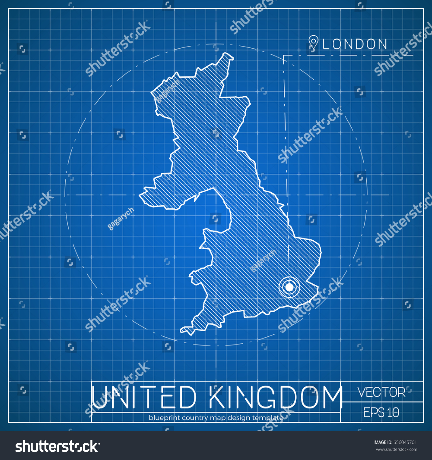 United kingdom blueprint map template capital stock vector 656045701 united kingdom blueprint map template with capital city london marked on blueprint british map malvernweather Choice Image