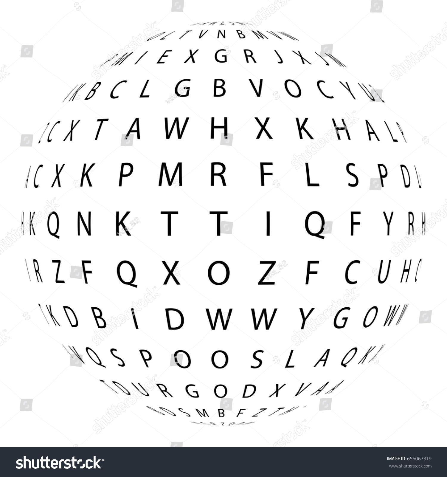 Sphere Consisting Letters Collection Halftone Effect Letter Stock