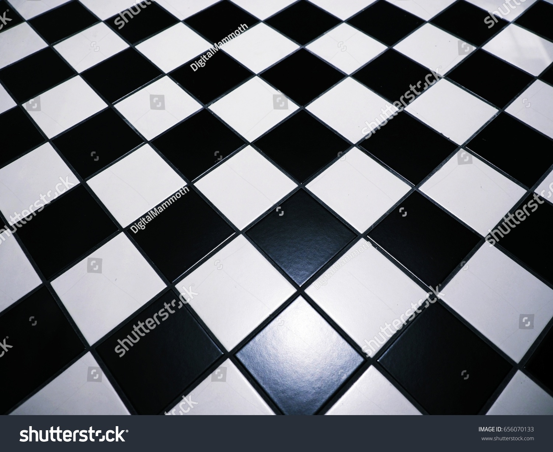 Black White Checkered Floor Tiles Background Stock Photo Edit Now