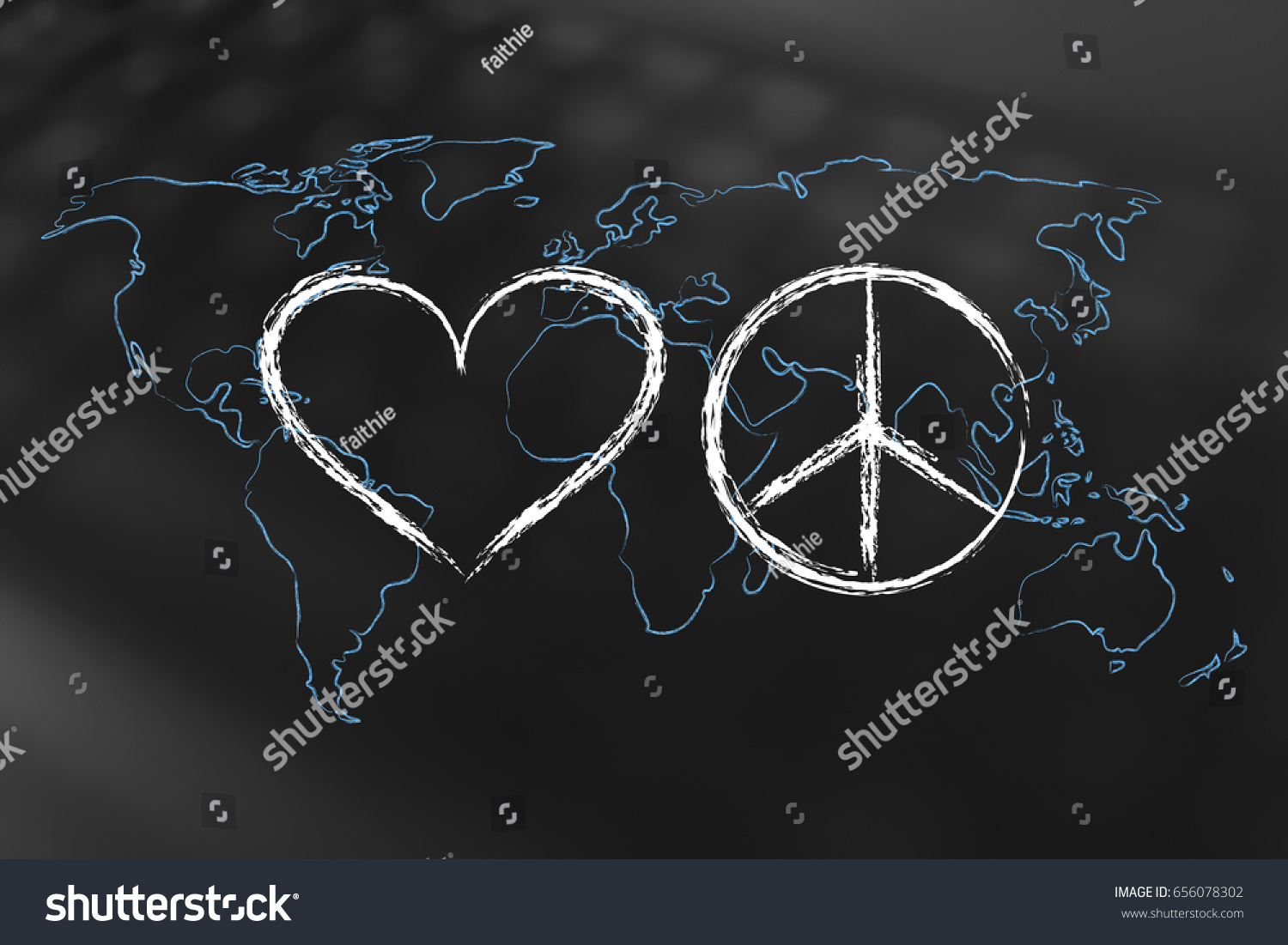Love Peace Symbol World Map Outline Stock Illustration 656078302