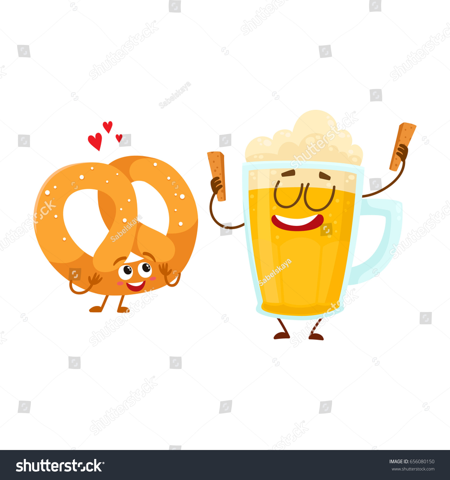 Larger preview vector clip art of a happy yellow coffee cup character - Happy Aluminium Beer Mug And Salty Pretzel Characters Having Fun Together Cartoon Vector Illustration Isolated