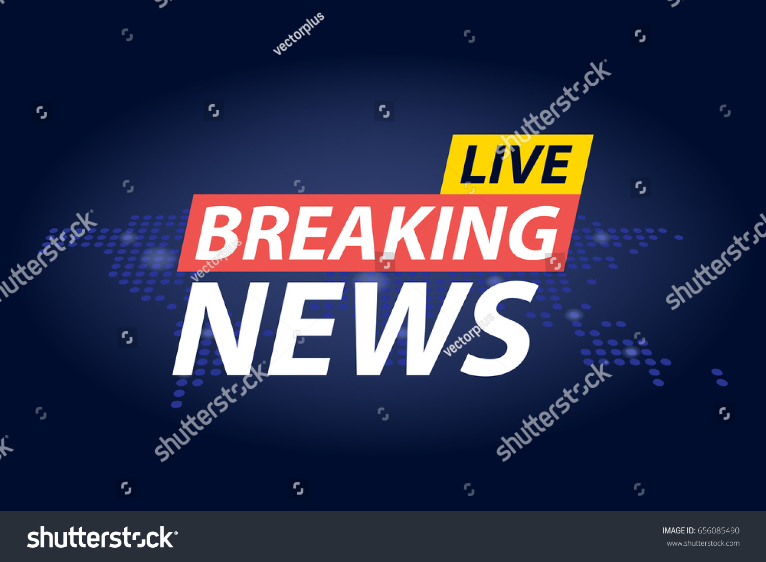 Live Breaking News Headline Blue Dotted Stock Vector (Royalty Free