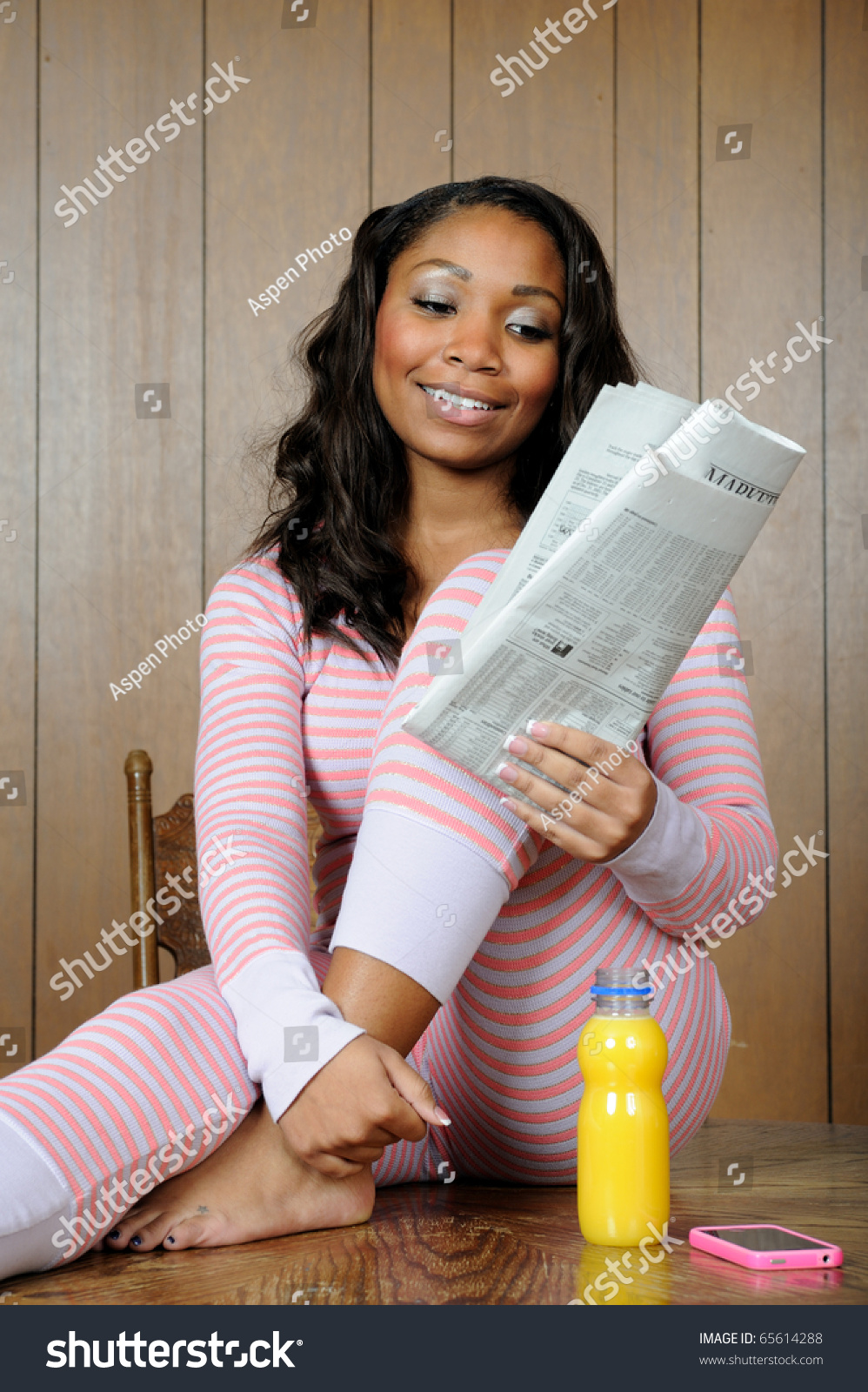14eb84356ff5 Beautiful Young African American Woman Pajamas Morning Stock Photo ...
