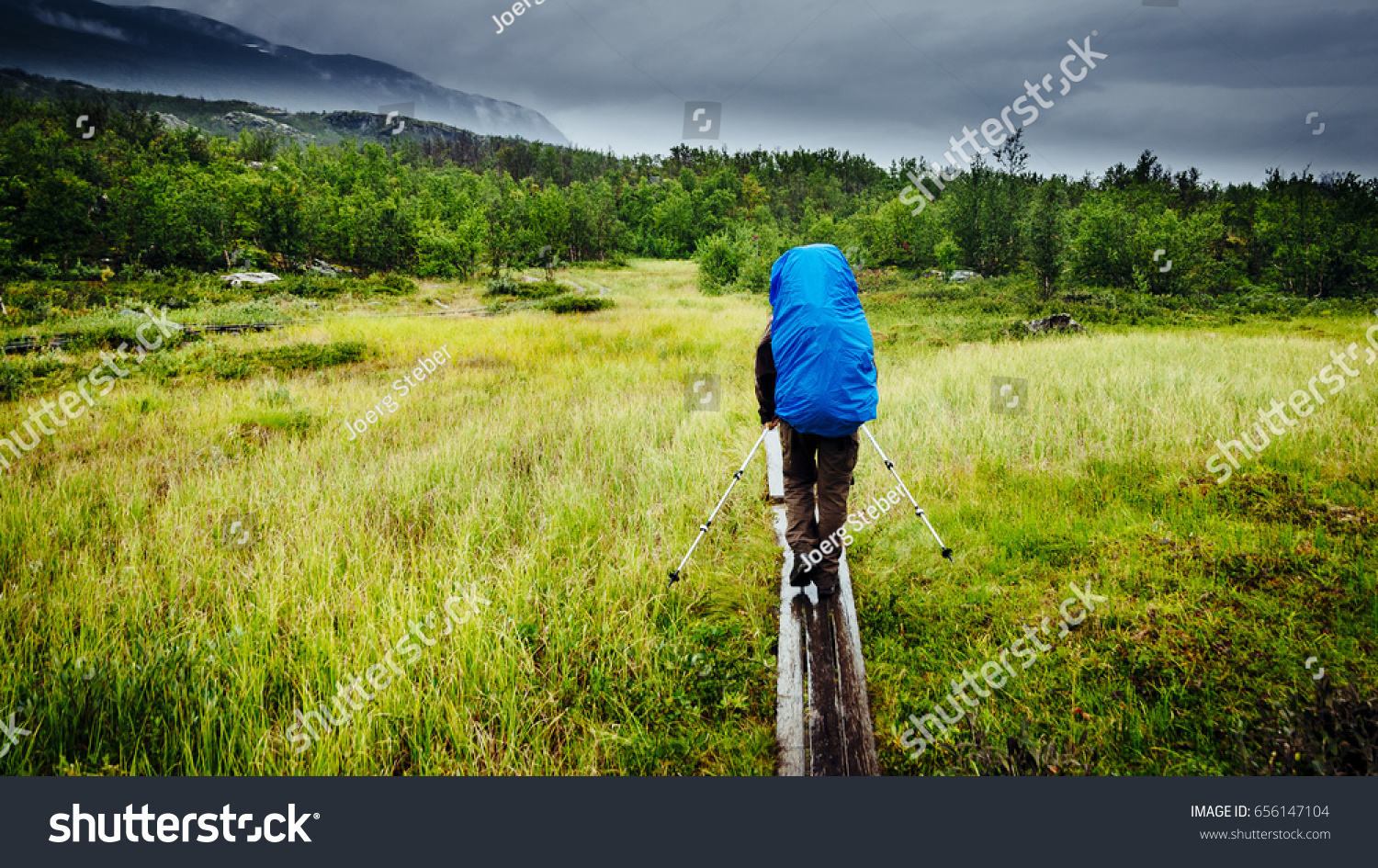 Trekking Through Rain Along Kungsleden Sweden Stock Photo - Sweden map trekking