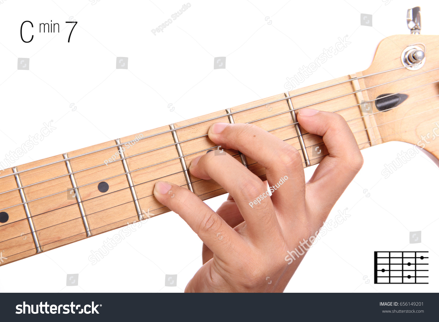 Cm 7 Minor Seventh Keys Guitar Tutorial Stock Photo Edit Now