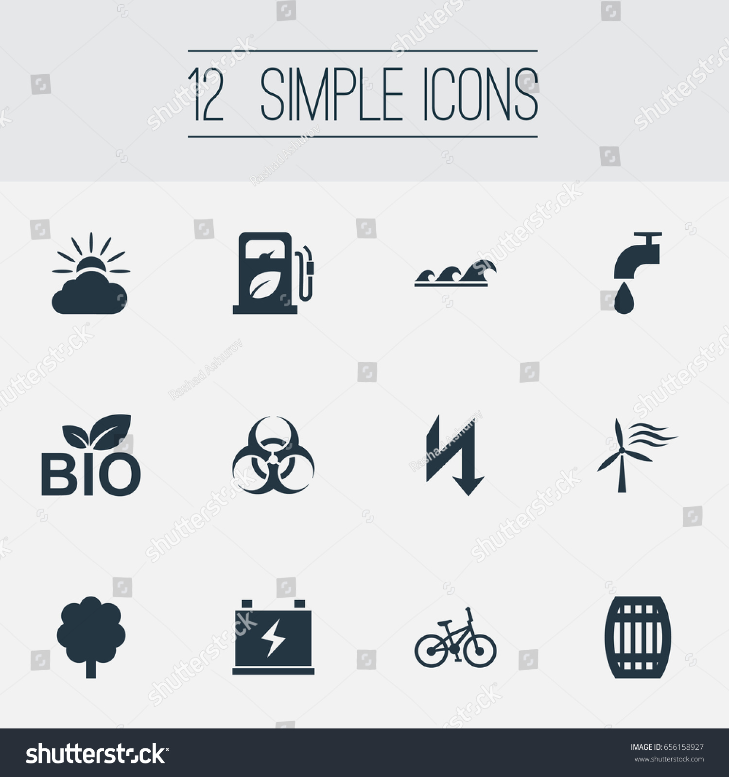 Vector Illustration Set Simple Power Icons Stock Vector 656158927 ...