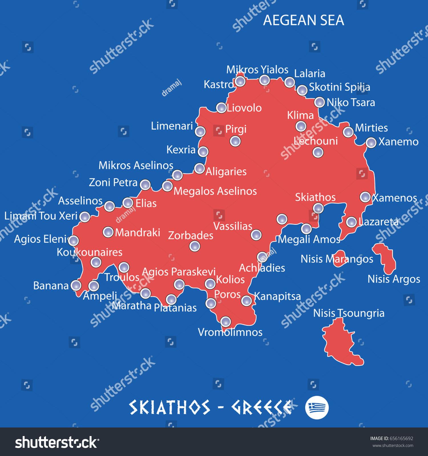 Island Skiathos Greece Red Map Illustration Stock Vector 656165692