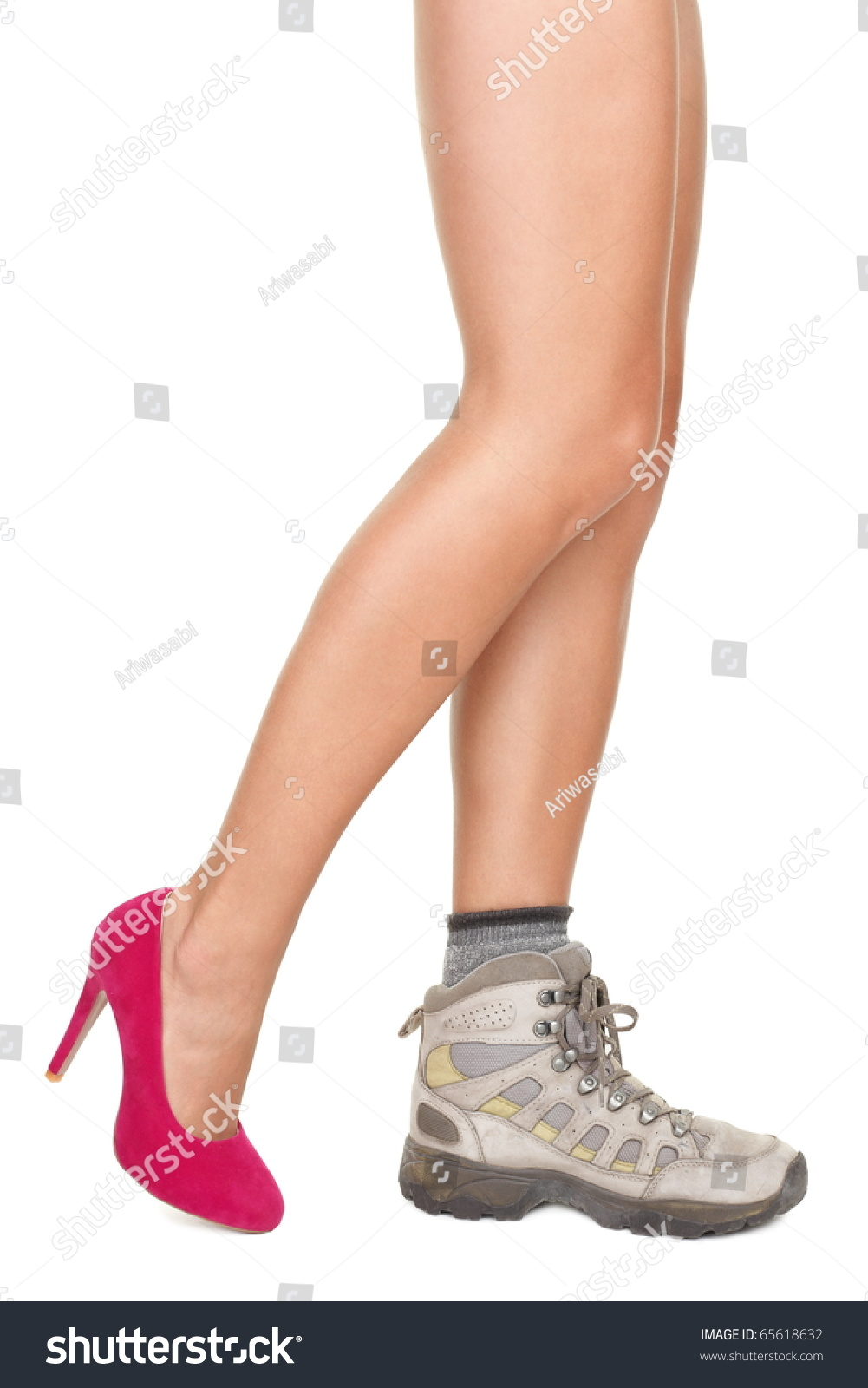 shoe choice concept image sexy woman legs wearing one