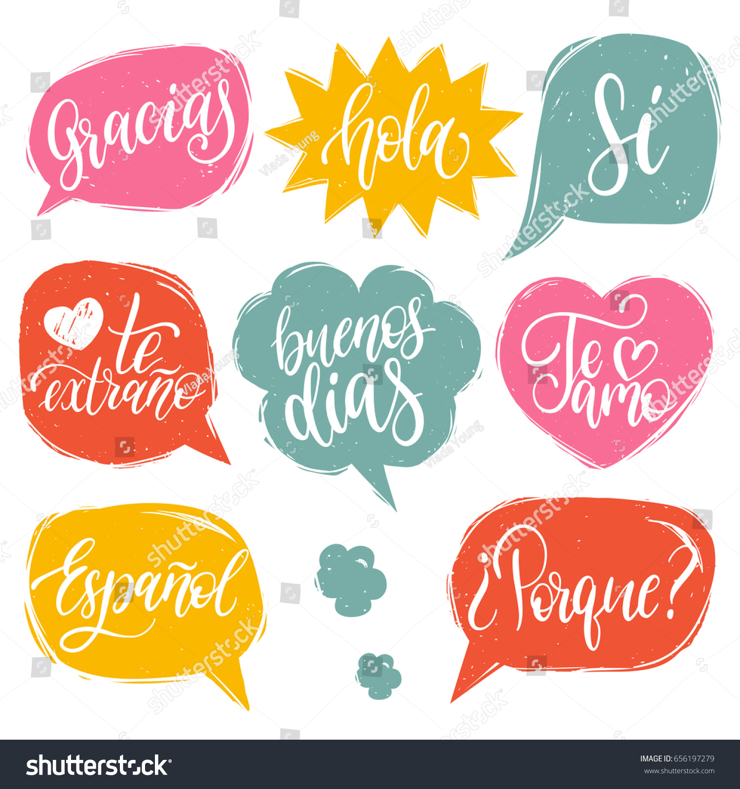 I Miss You Spanish Quotes: Vector Calligraphic Set Spanish Translation Thank Stock
