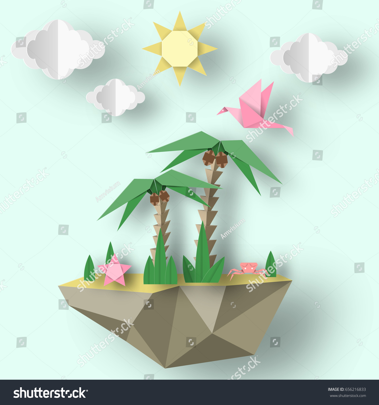 Summer origami art applique paper crafted stock vector 656216833 summer origami art applique paper crafted cutout world decoration template for banner card jeuxipadfo Images