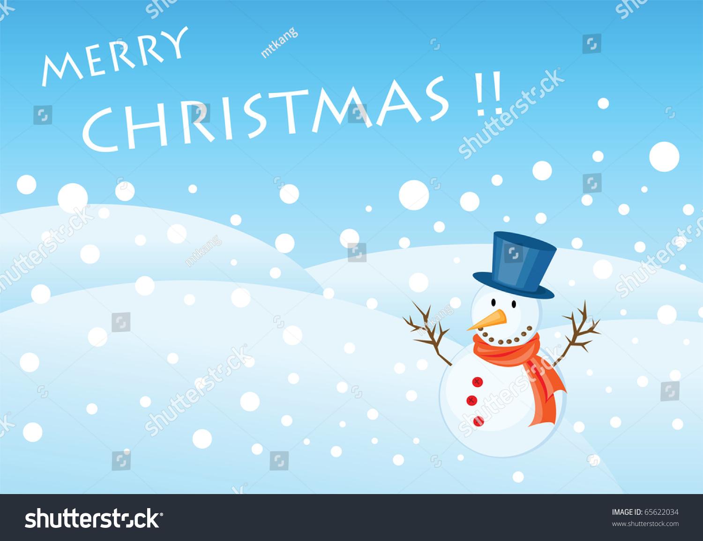 Snowman Illustrations Christmas Greetings Card Stock Vector Royalty