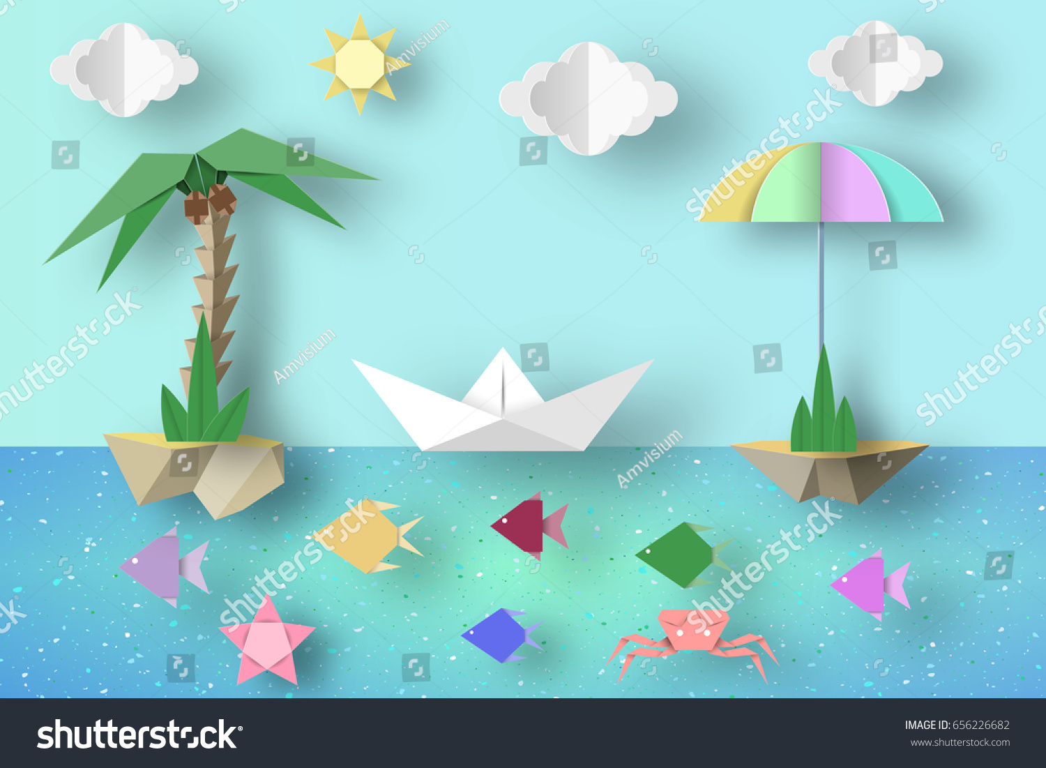 Summer origami fun art applique paper stock vector 656226682 summer origami fun art applique paper crafted cutout world composition with style elements and jeuxipadfo Image collections