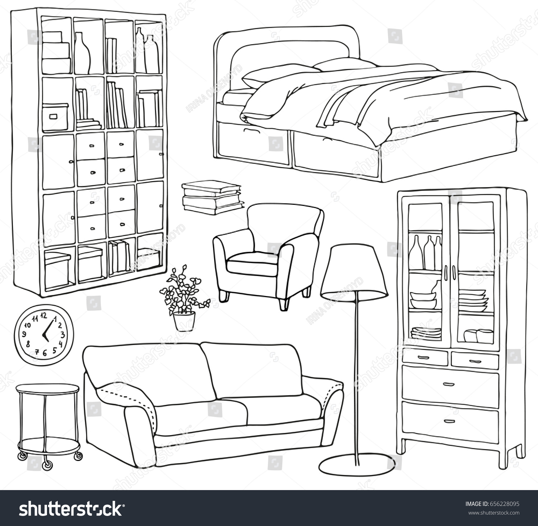 Vector set modern furniture objects drawn stock vector for Sofa zeichnen