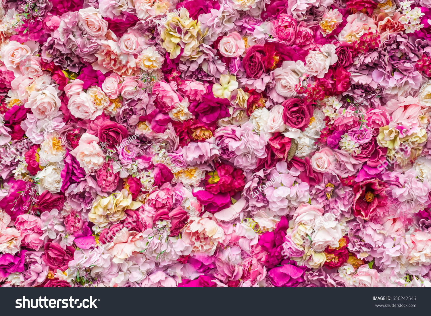Beautiful Flowers Background For Wedding Scene Flowers Made Of