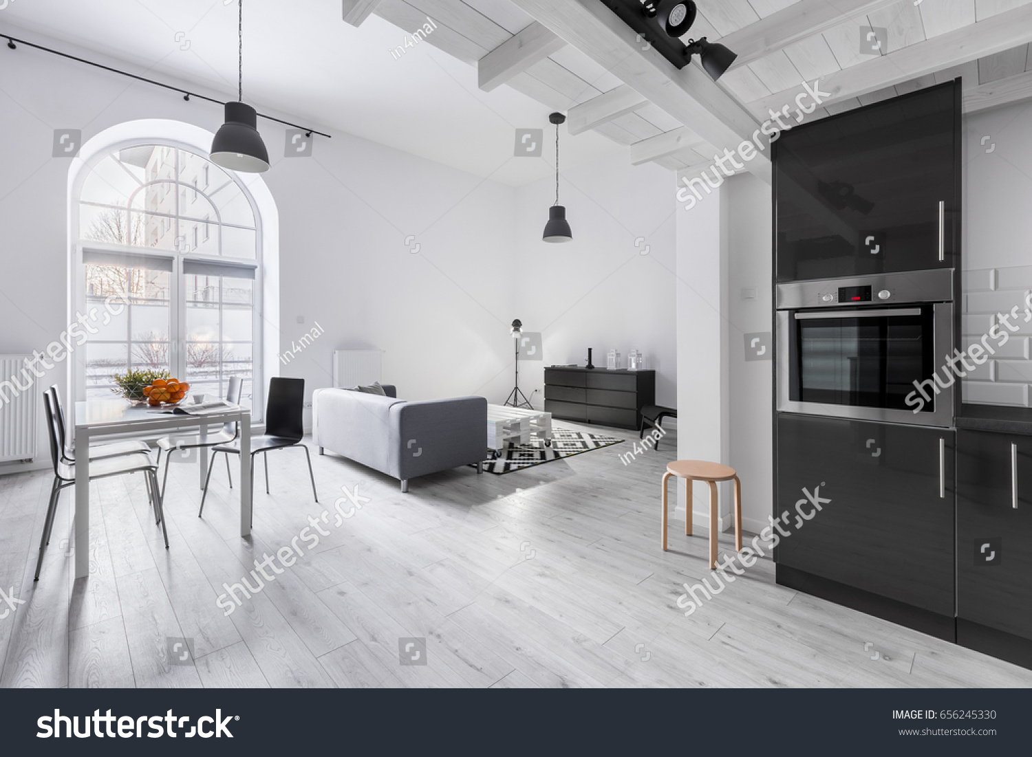 Modern Apartment Industrial Style Kitchen Open Stock Photo (Royalty ...