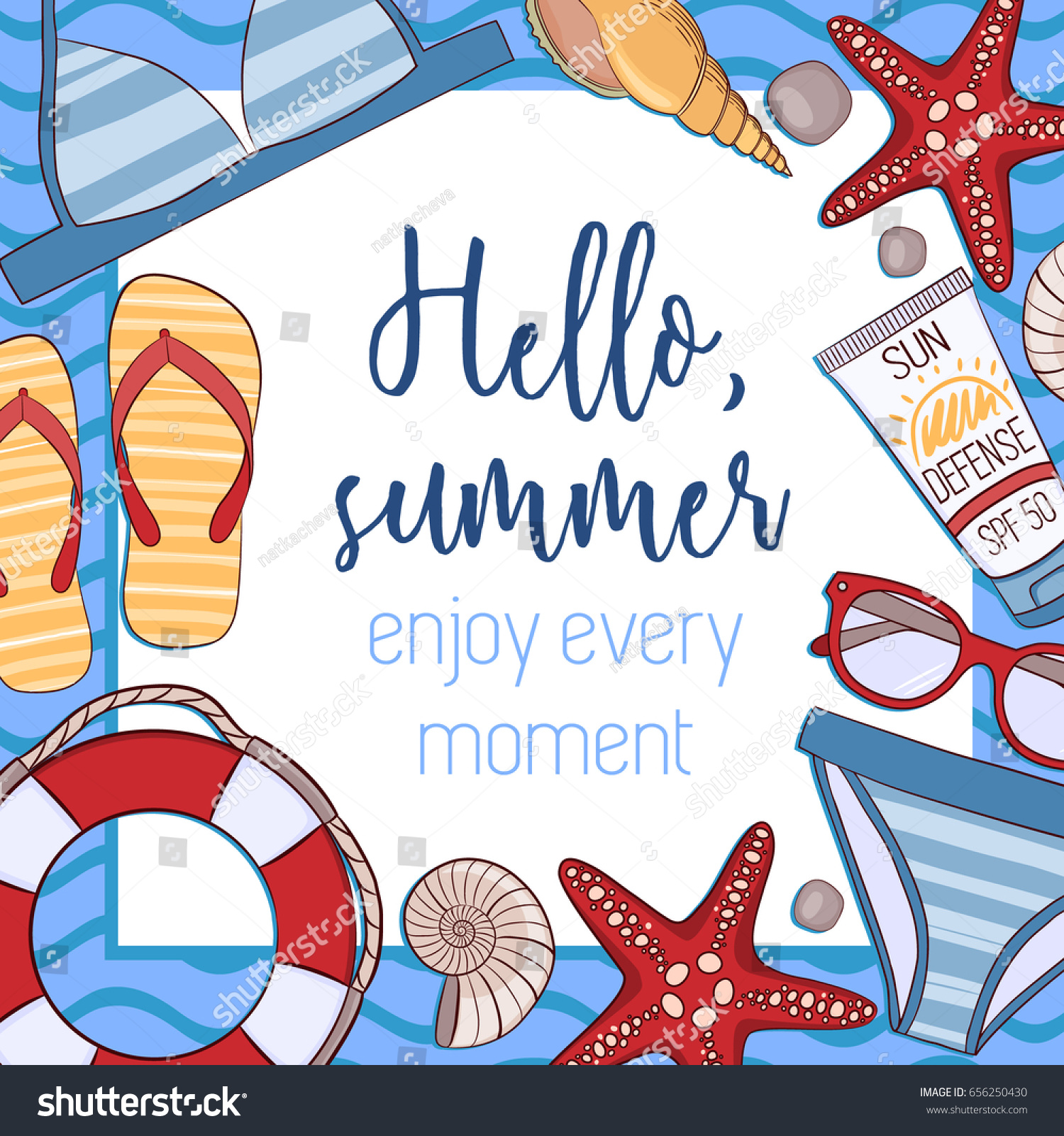 Hello, Summer! Enjoy Every Moment. Summer Holidays And Beach Vacation  Vector Illustration For