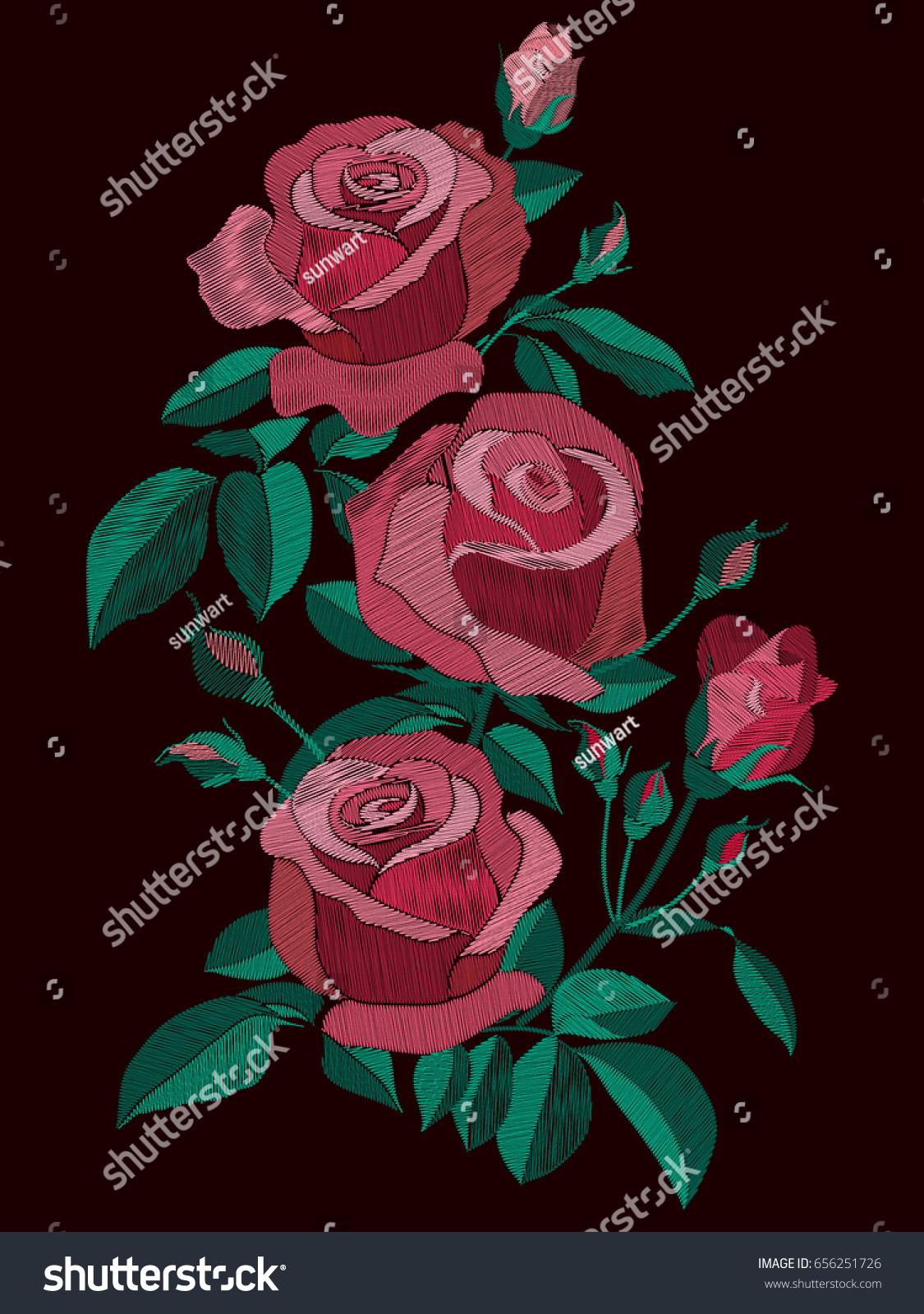 Red Pink Roses Bush Leaves Buds Stock Vector Royalty Free