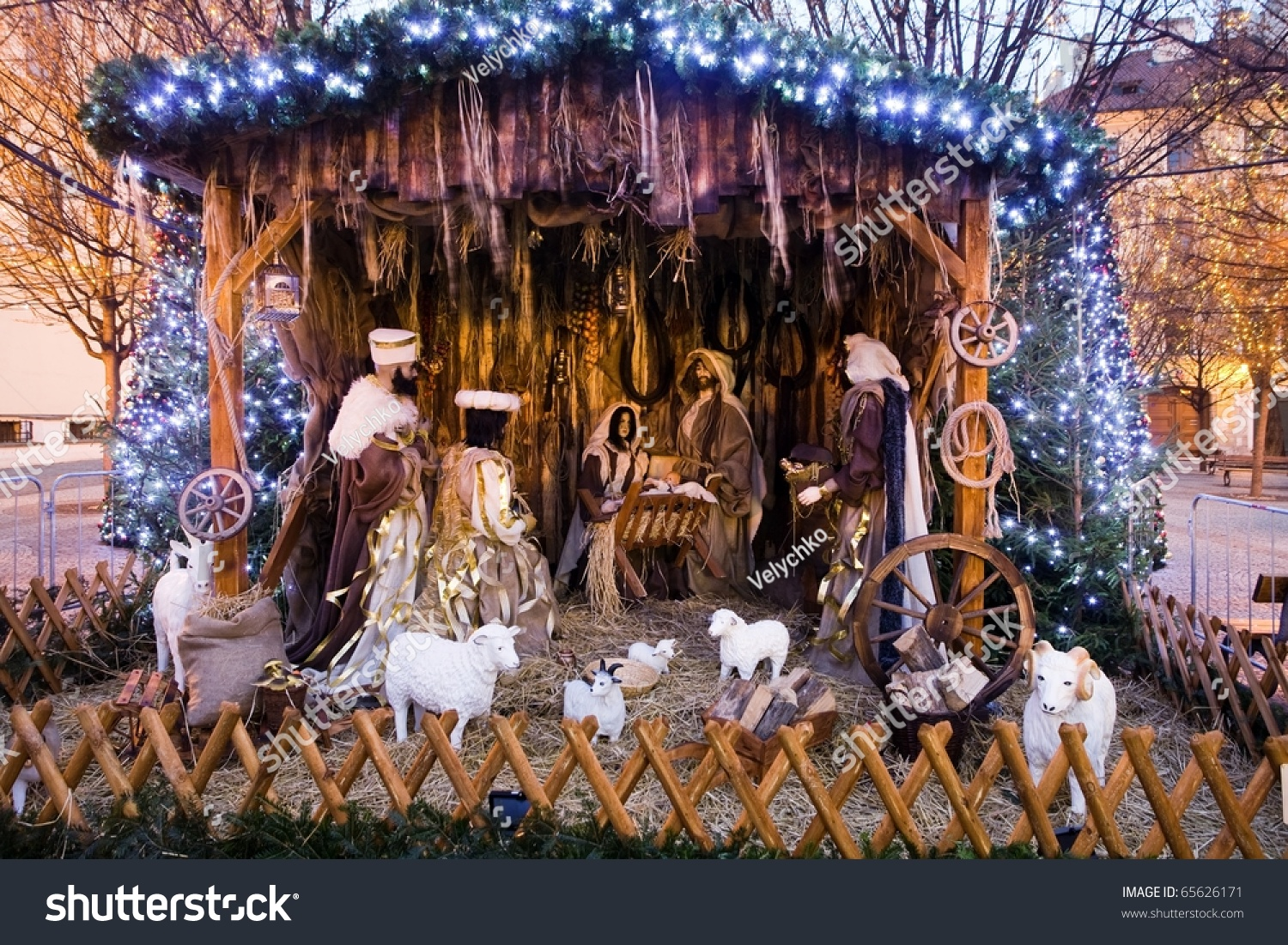 Christmas Nativity Scene With Three Wise Men Presenting