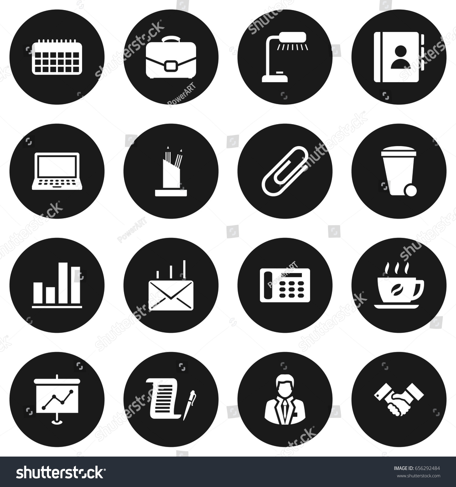 Set 16 Bureau Icons Setcollection Address Stock Vector 656292484