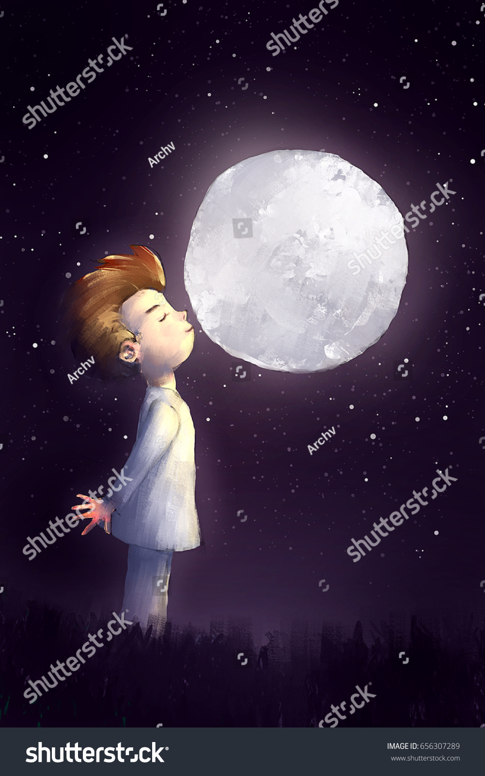 Digital painting of alone boy kissing the full moon story telling illustration