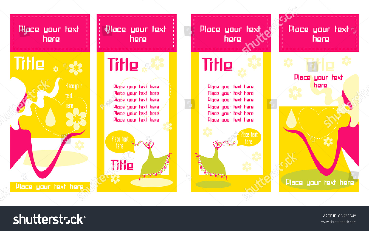 Banner Business Cards Beautiful Young Women Stock Vector 65633548 ...