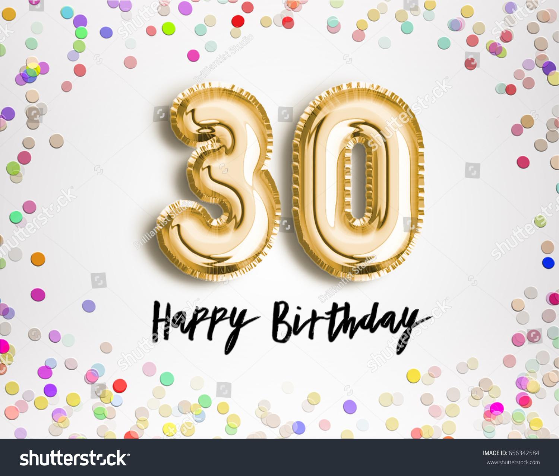 30th Birthday Celebration Gold Balloons Colorful Stock Illustration
