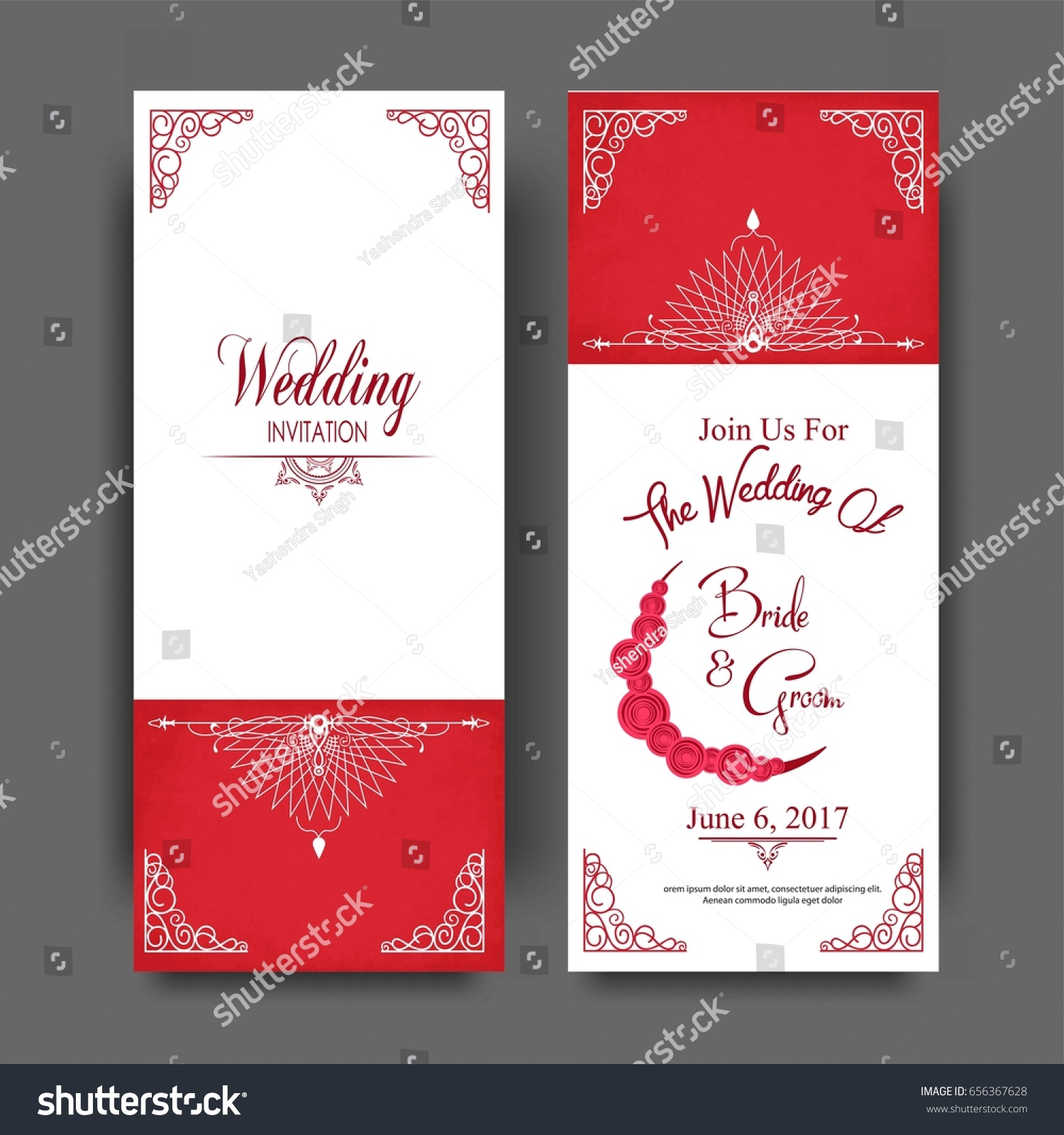 Wedding Invitation Card Muslim Community Stock Vector 656367628 ...