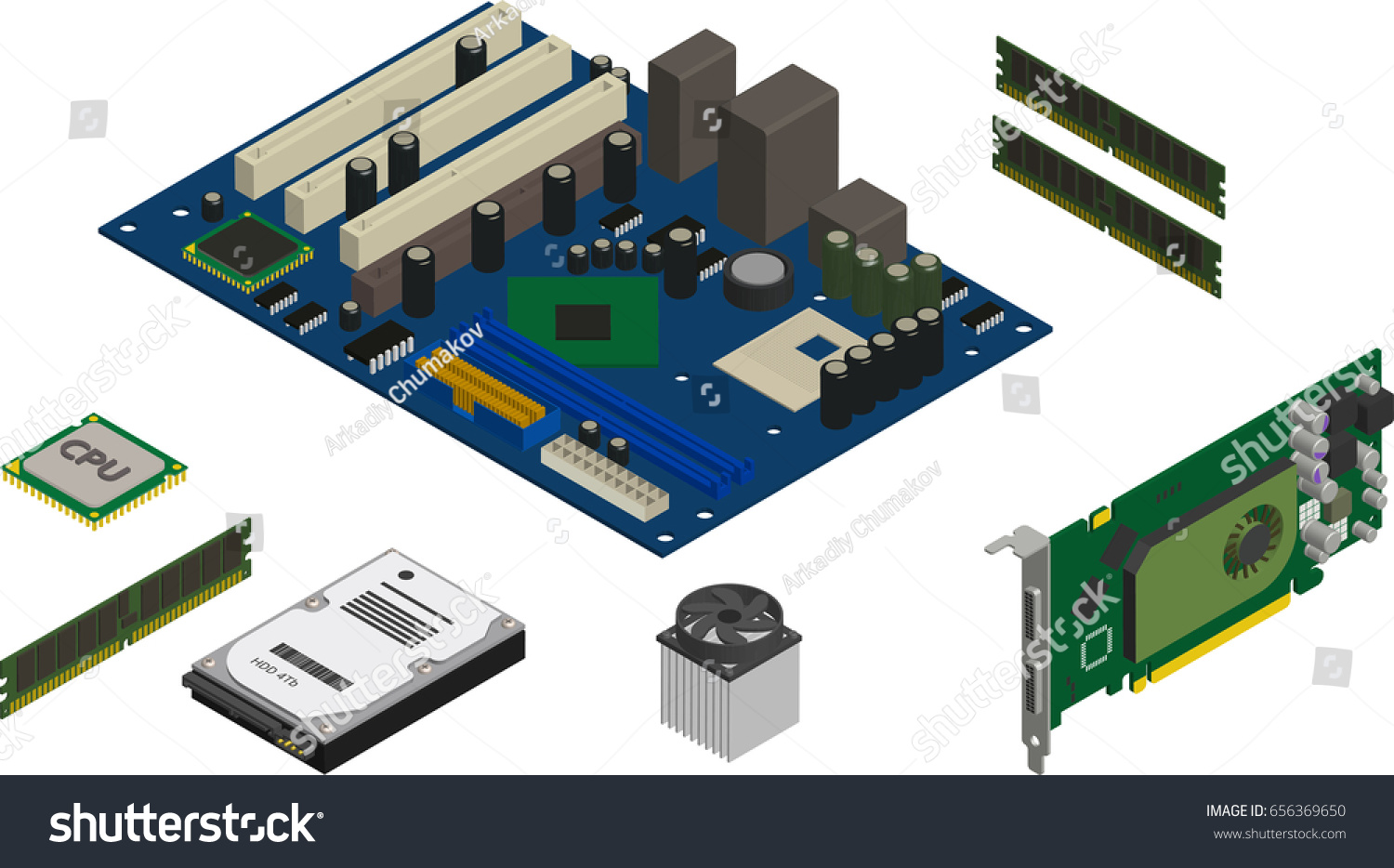 Isometric Computer Parts Icons Set Stock Vector Royalty Cpu Diagram Service