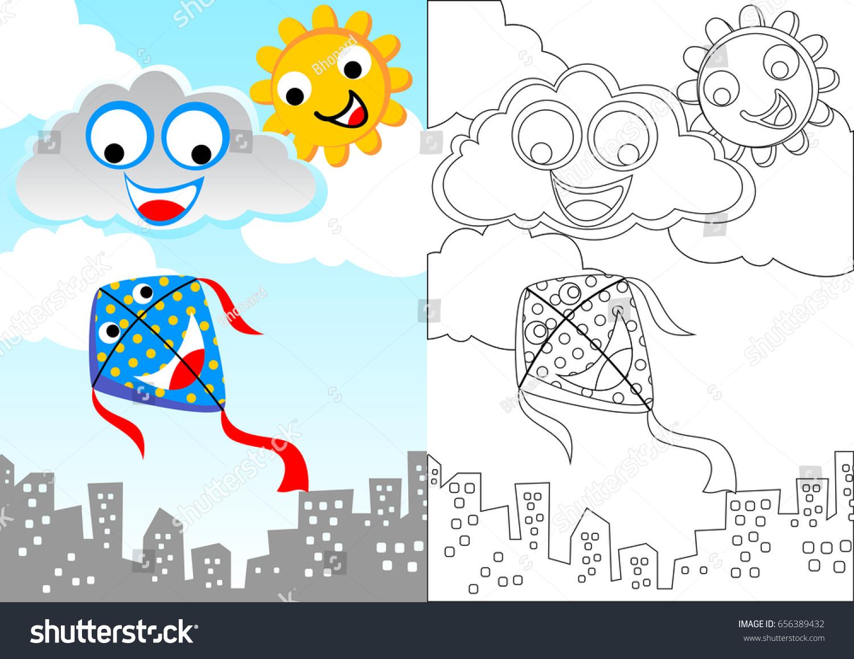Kite Sky Vector Cartoon Coloring Book Stock Vector 656389432 ...